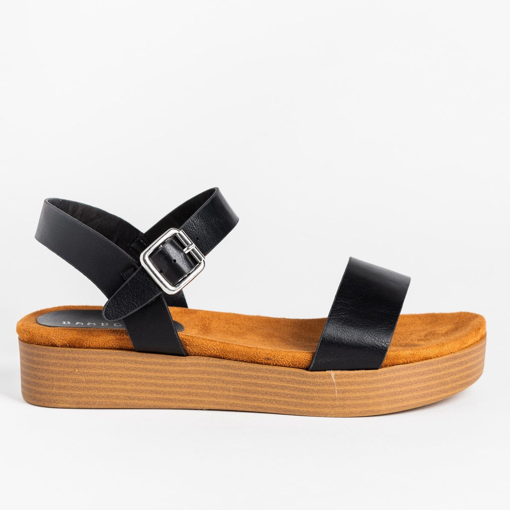 Womens Comfy Stacked Flatform Sandals - Bamboo Shoes - Black / 5