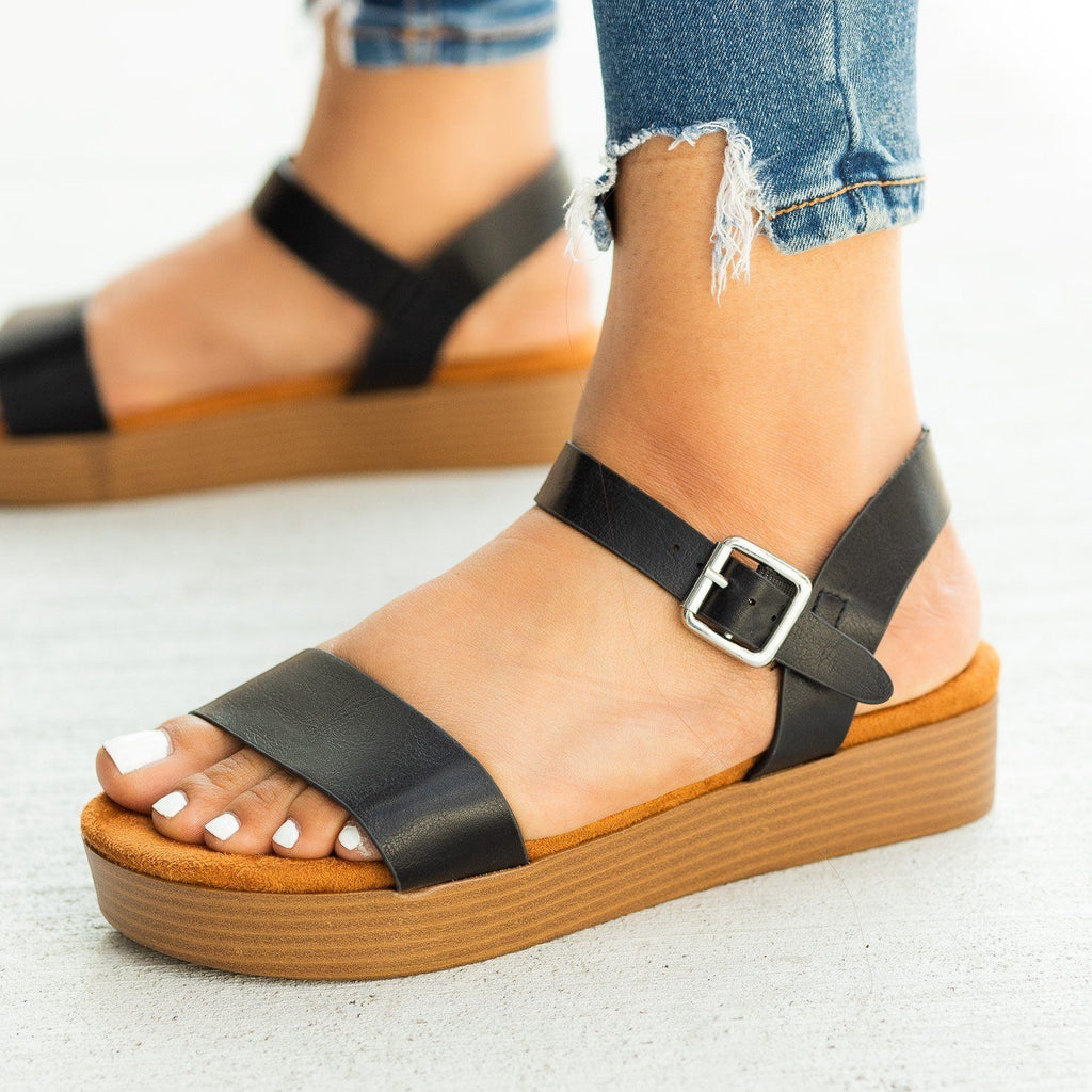 Womens Comfy Stacked Flatform Sandals - Bamboo Shoes