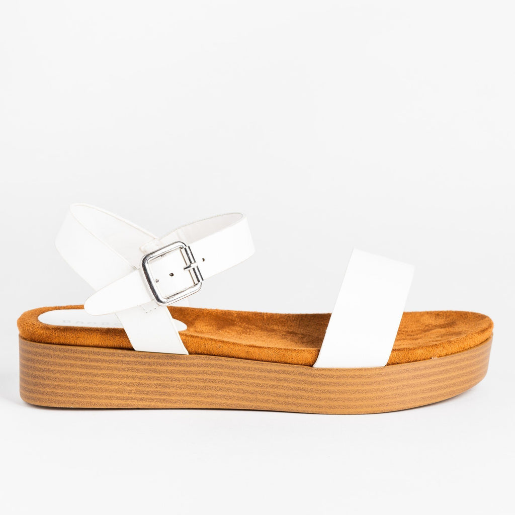 Womens Comfy Stacked Flatform Sandals - Bamboo Shoes - White / 5