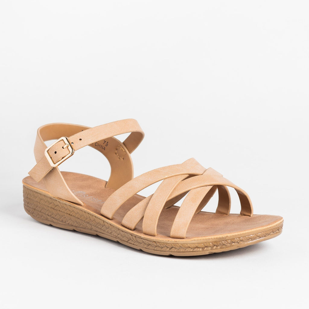 Womens Comfy Strappy Criss Cross Fashion Sandals - Cherish - Nude / 5