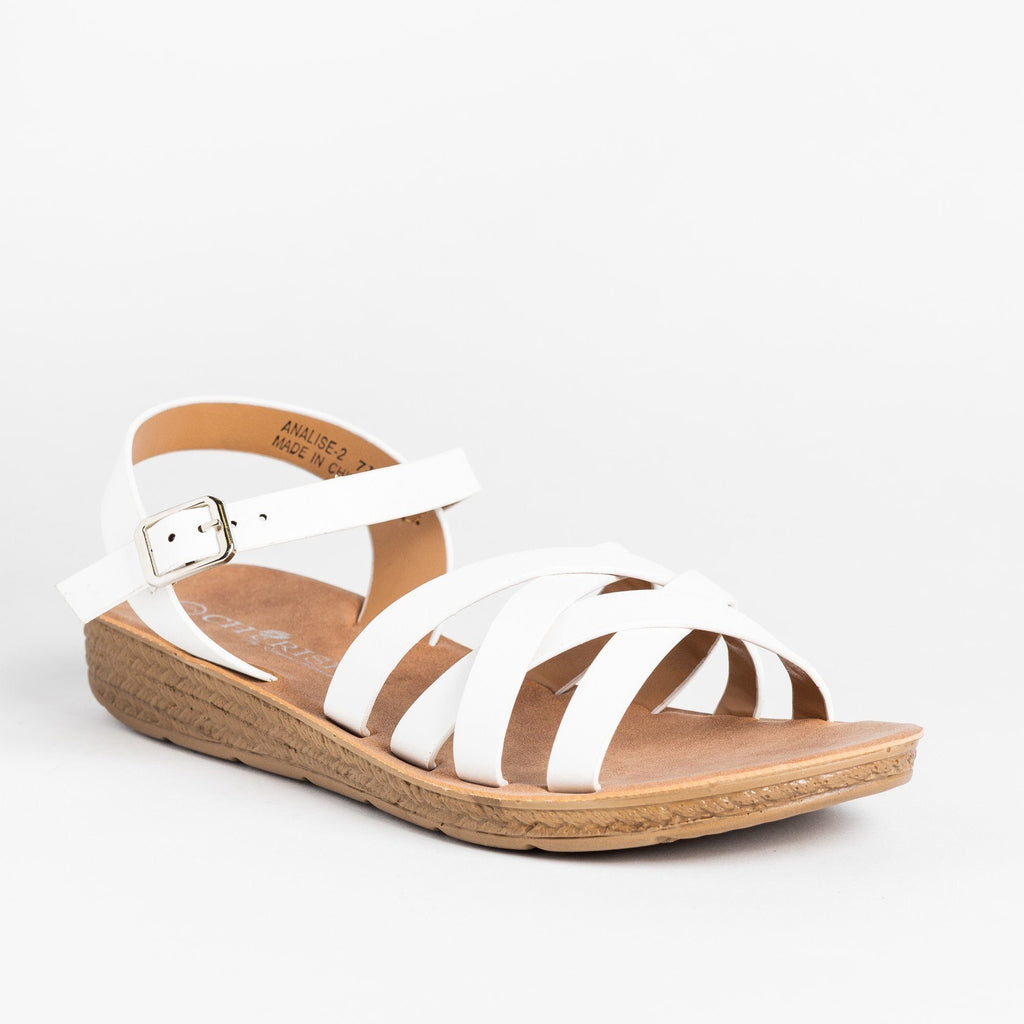 Womens Comfy Strappy Criss Cross Fashion Sandals - Cherish - White / 5