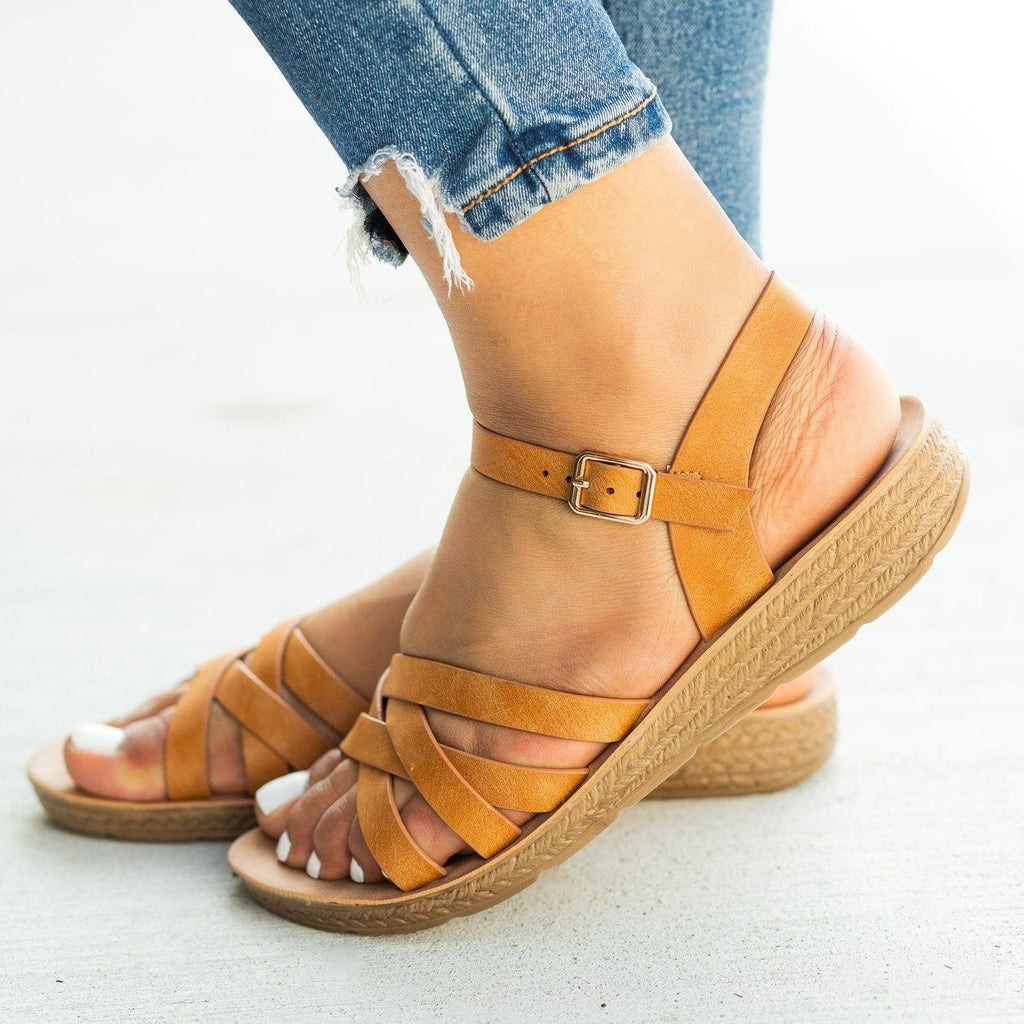 Womens Comfy Strappy Criss Cross Fashion Sandals - Cherish