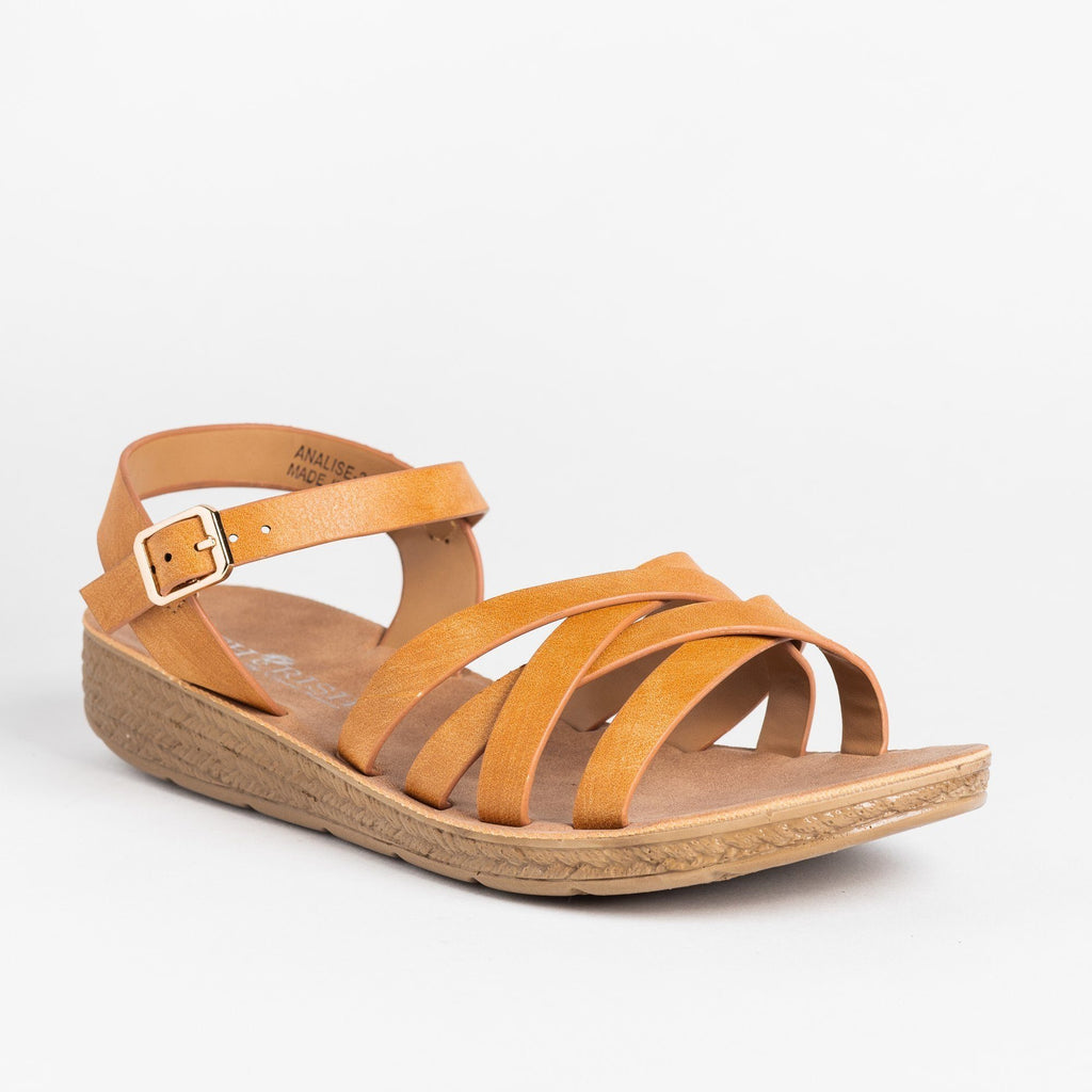 Womens Comfy Strappy Criss Cross Fashion Sandals - Cherish - Camel / 5