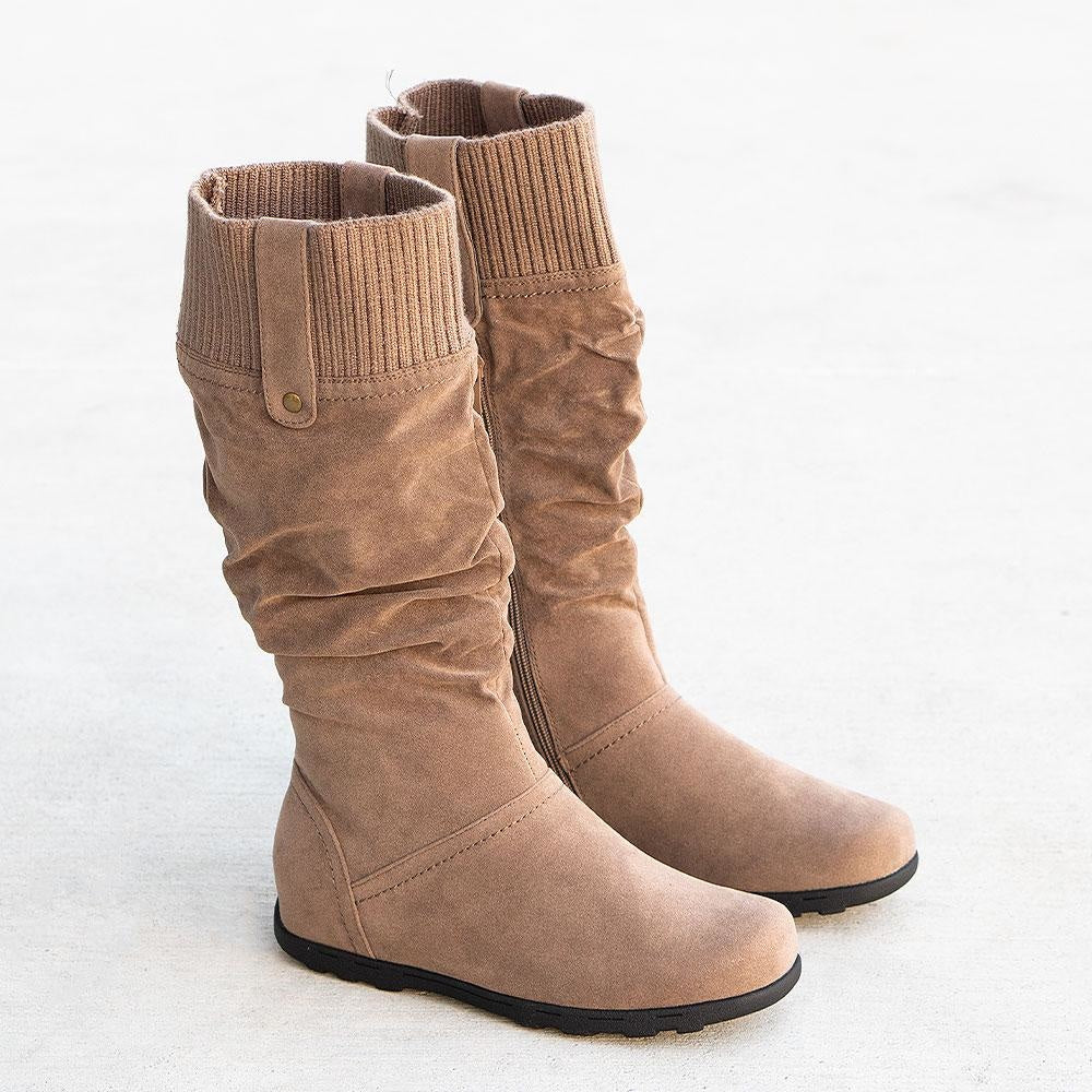 Women's Comfy Stretch Boots - Refresh - Taupe / 5