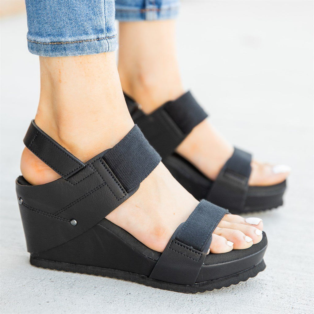 Womens Comfy Stretchy Sandal Wedges - Bamboo Shoes - Black / 5