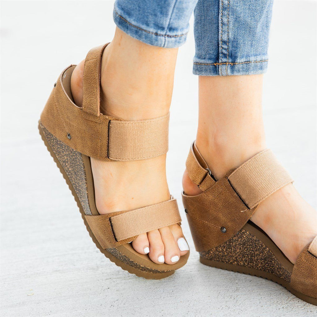 Womens Comfy Stretchy Sandal Wedges - Bamboo Shoes