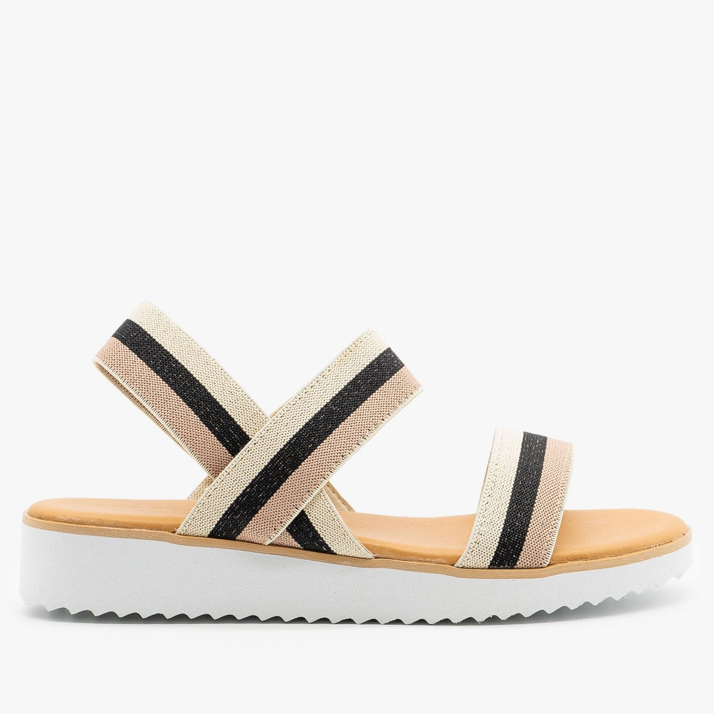Womens Comfy Striped Elastic Sandals - Bamboo Shoes - Natural / 5