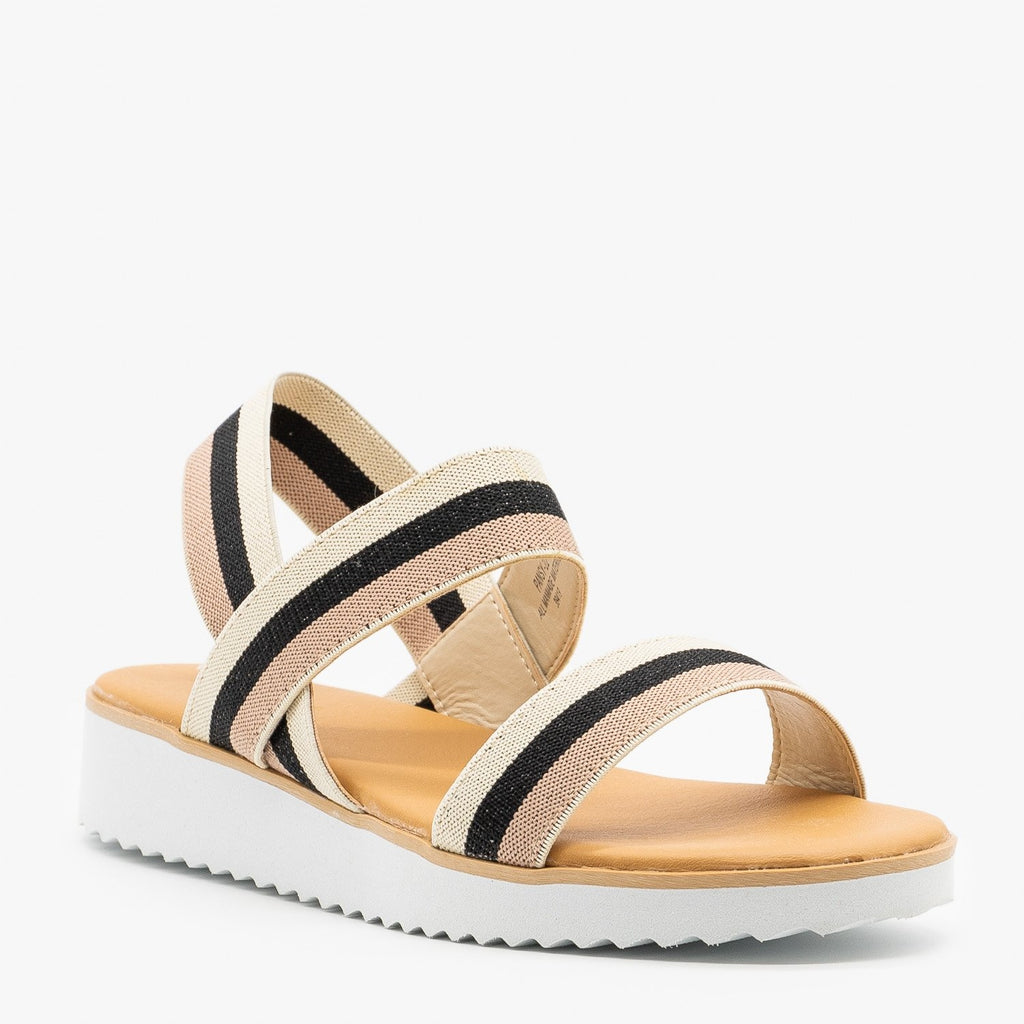 Womens Comfy Striped Elastic Sandals - Bamboo Shoes