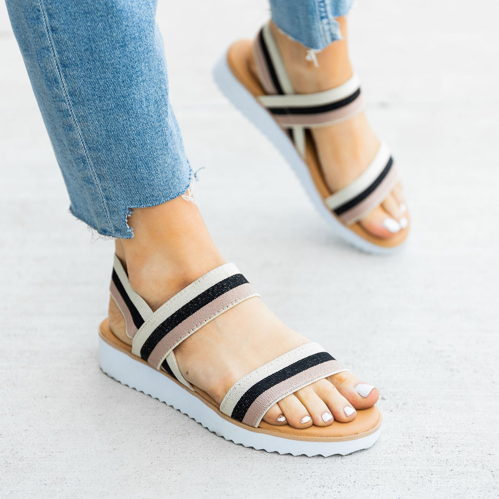 Women's Comfy Striped Elastic Sandals - Bamboo Shoes