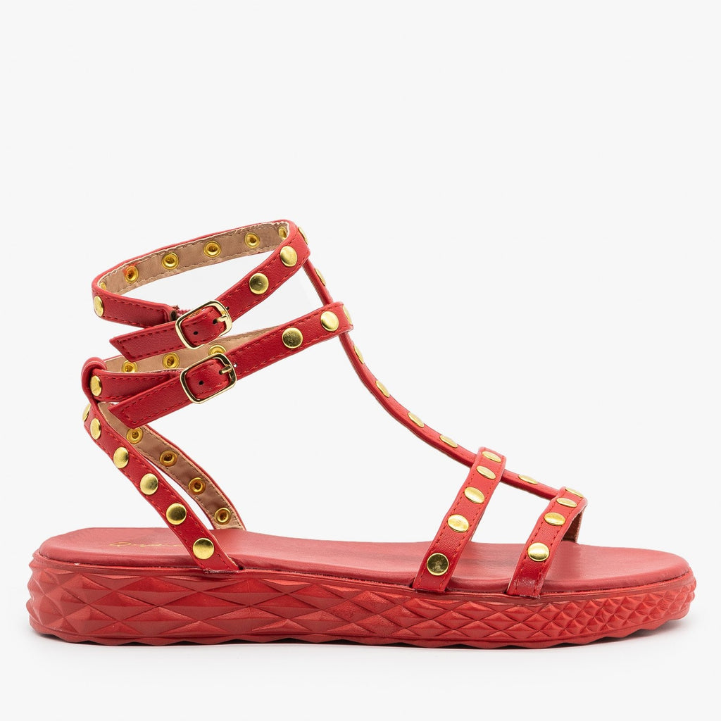 Womens Comfy Studded Strappy Sandals - Qupid Shoes - Red / 5