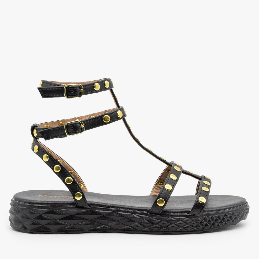 Womens Comfy Studded Strappy Sandals - Qupid Shoes - Black / 5