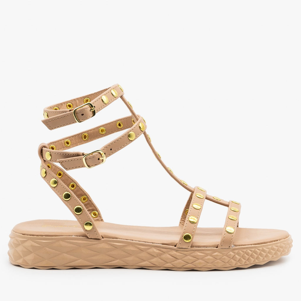 Womens Comfy Studded Strappy Sandals - Qupid Shoes - Taupe / 5