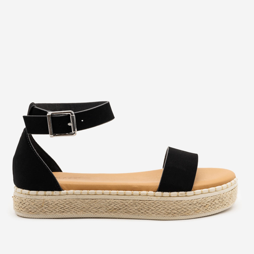 Women's Comfy Summer Espadrille Sandals - Bamboo Shoes - Black / 5