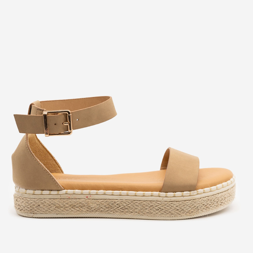 Women's Comfy Summer Espadrille Sandals - Bamboo Shoes - Natural / 5