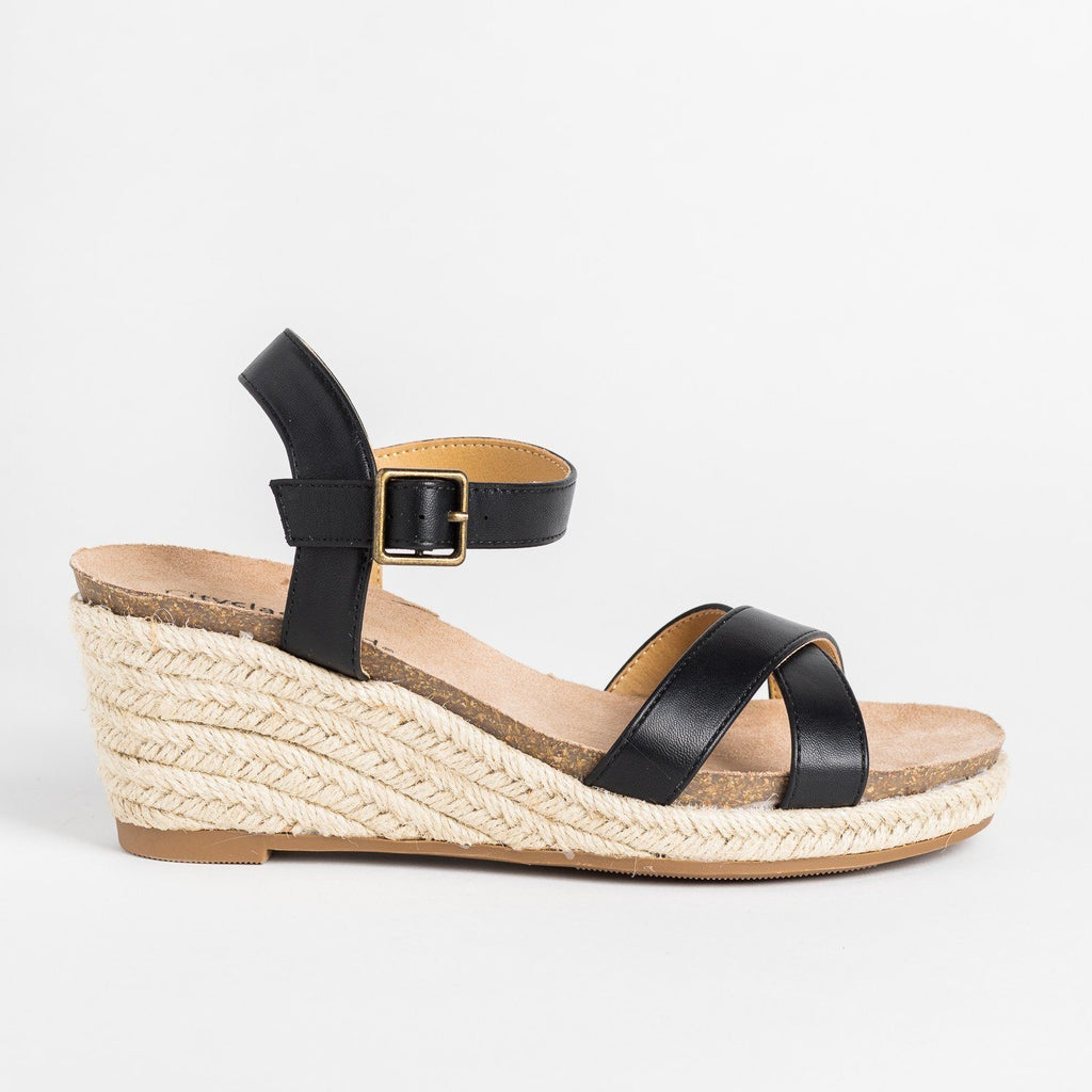 Womens Comfy Summer Espadrille Wedges - City Classified Shoes - Black / 5
