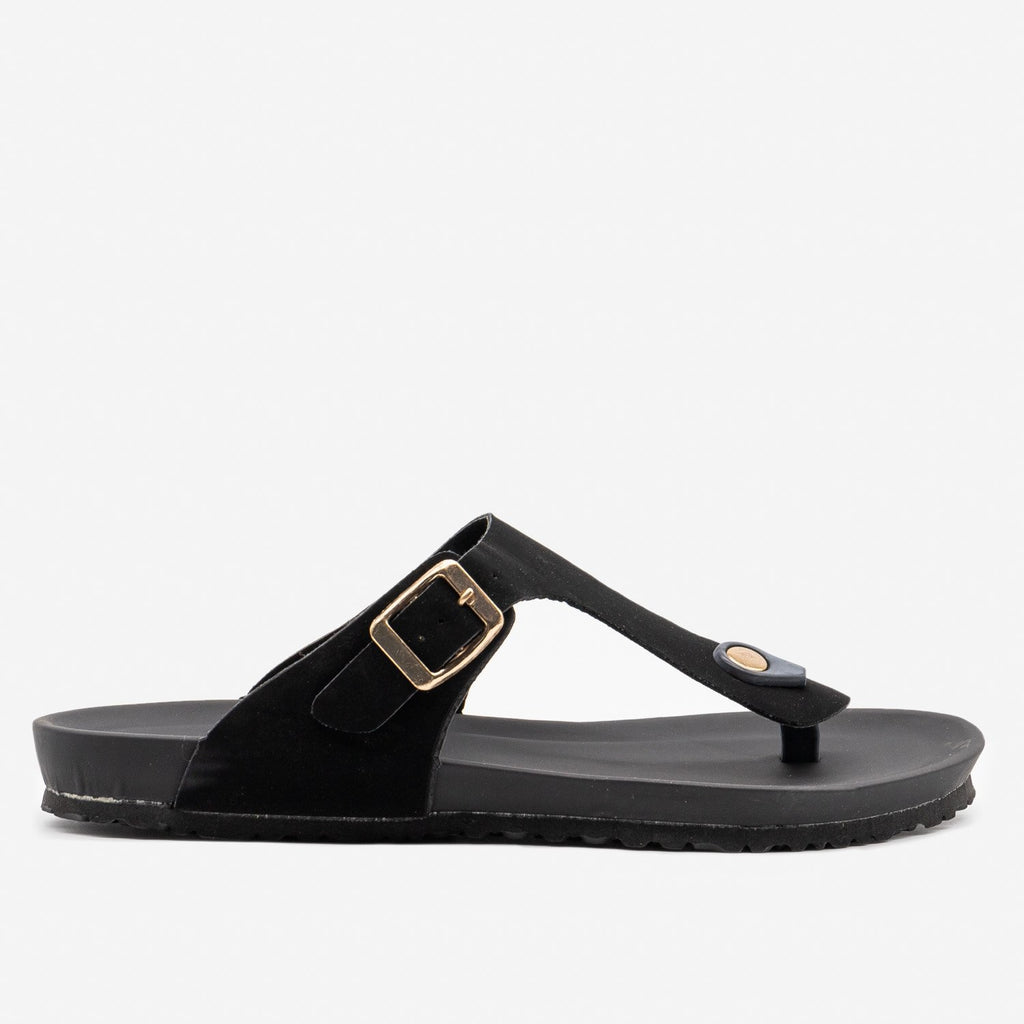 Women's Comfy Summer Sandals - Bamboo Shoes - Black / 5