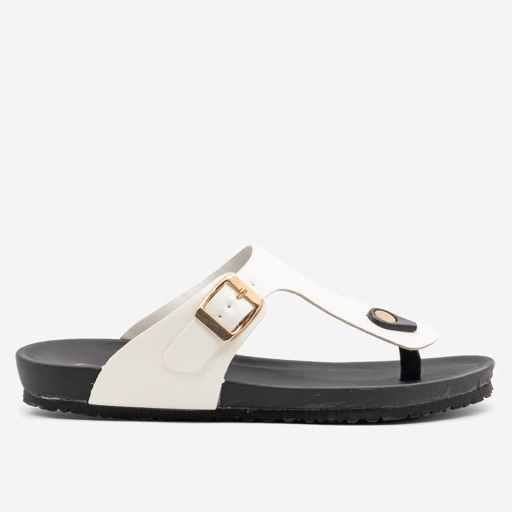 Women's Comfy Summer Sandals - Bamboo Shoes - White / 5