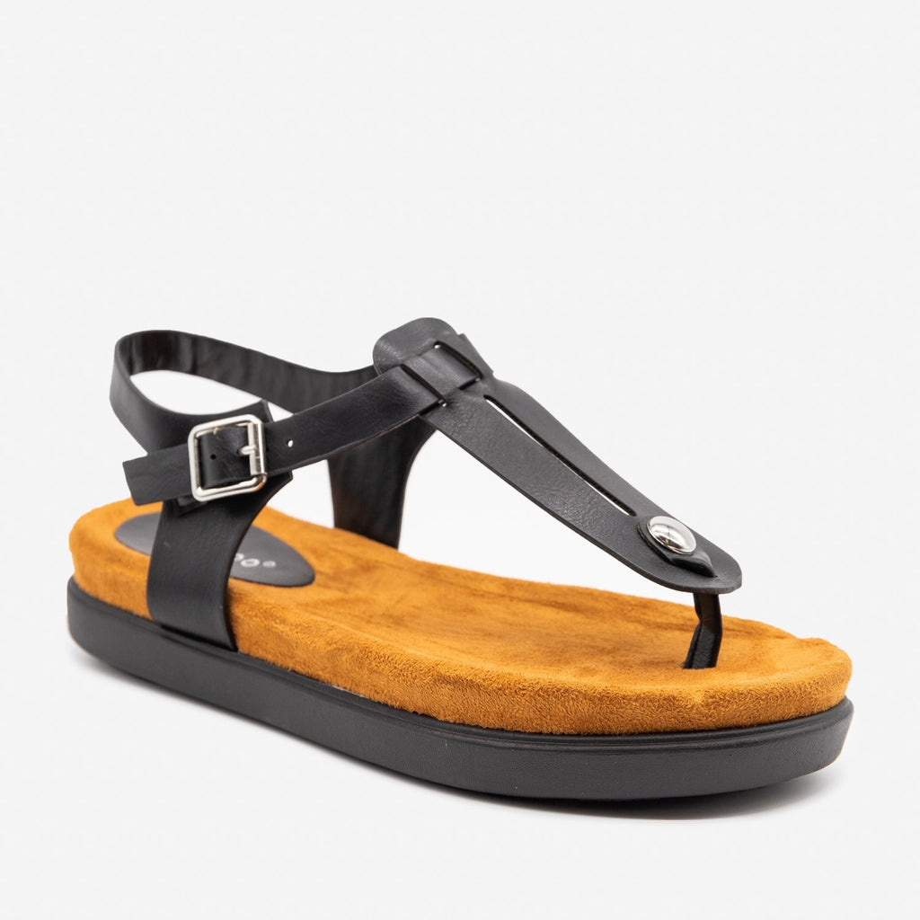 Women's Comfy Thong-Toed Fashion Sandals - Bamboo Shoes - Black / 5