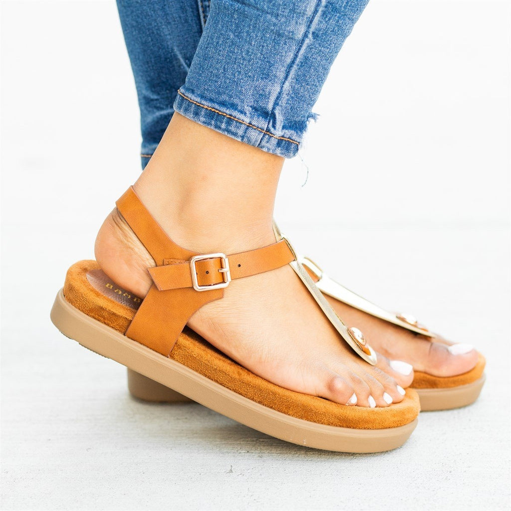 Womens Comfy Thong-Toed Fashion Sandals - Bamboo Shoes