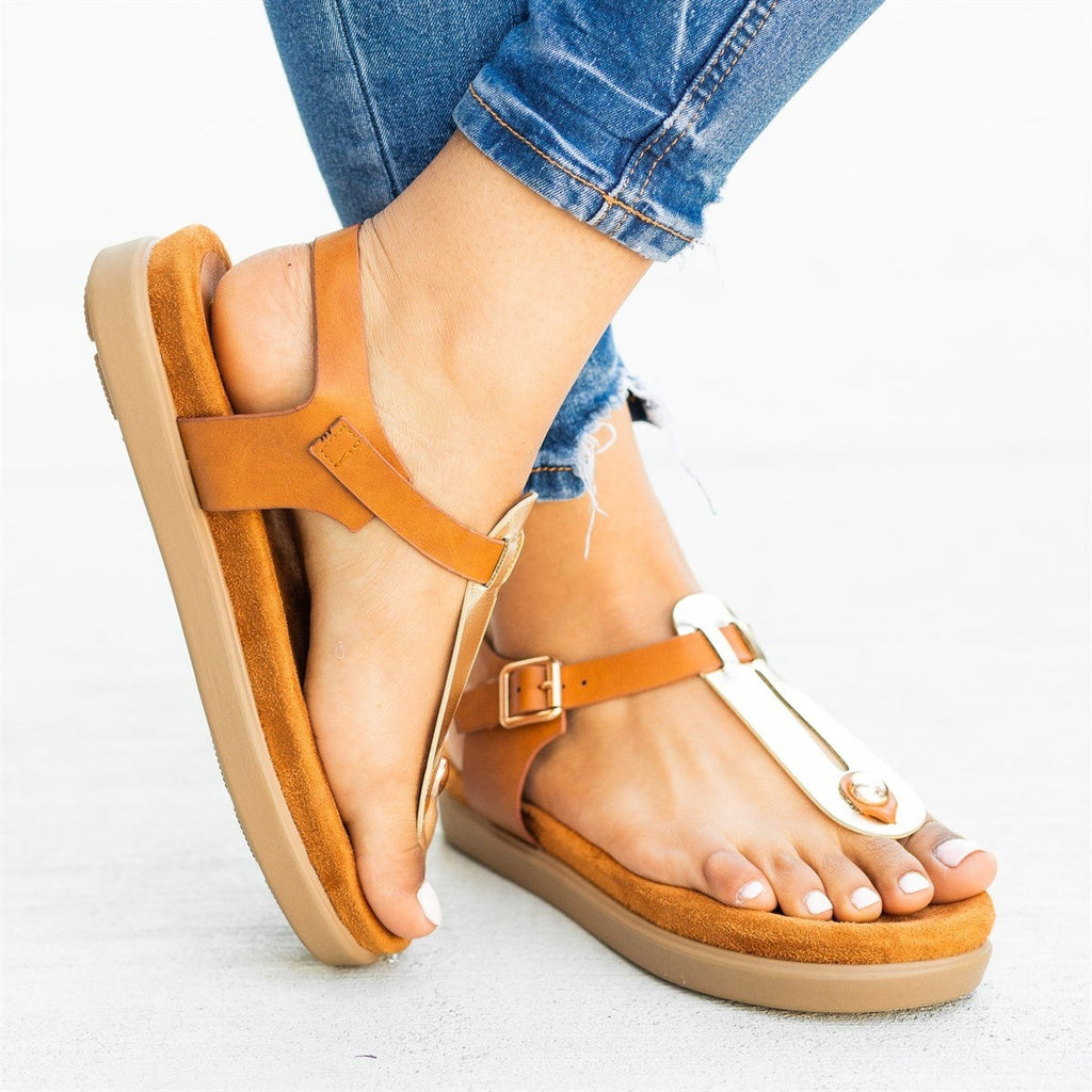 Womens Comfy Thong-Toed Fashion Sandals - Bamboo Shoes - Gold / 5
