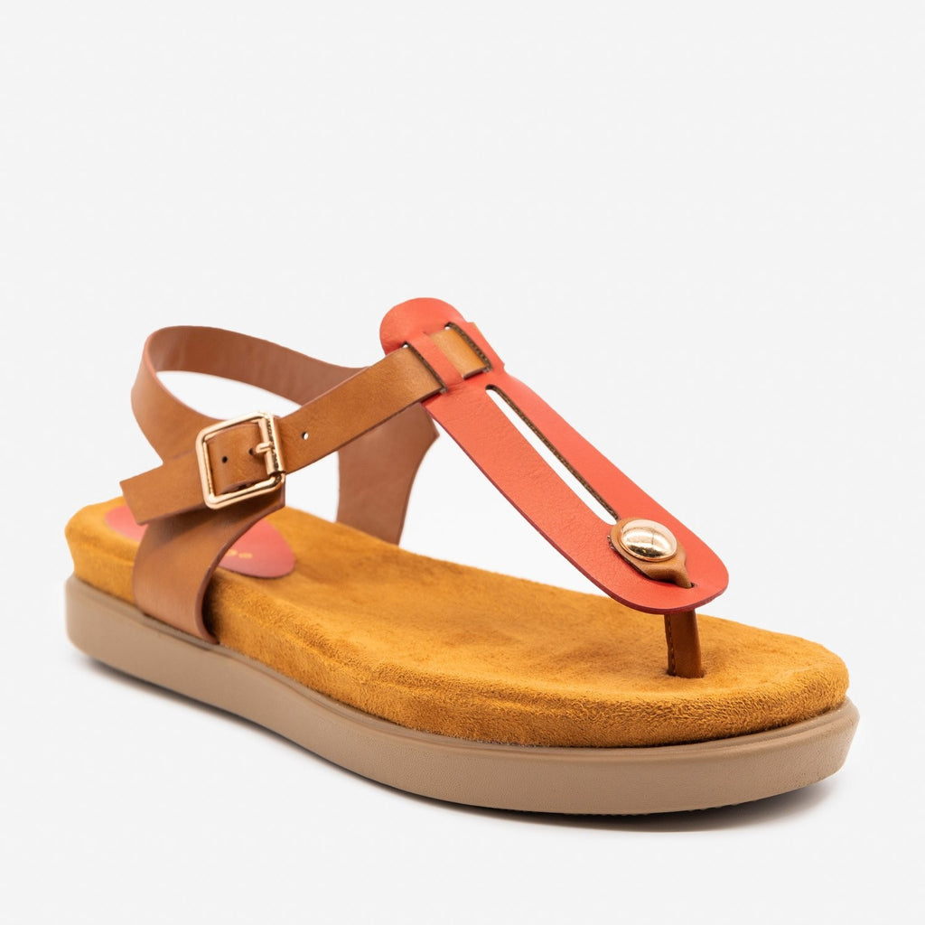 Women's Comfy Thong-Toed Fashion Sandals - Bamboo Shoes - Red / 5