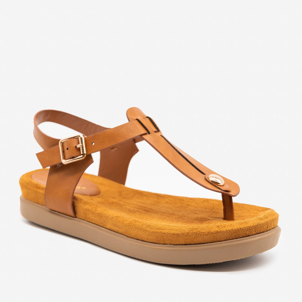 Women's Comfy Thong-Toed Fashion Sandals - Bamboo Shoes - Tan / 5