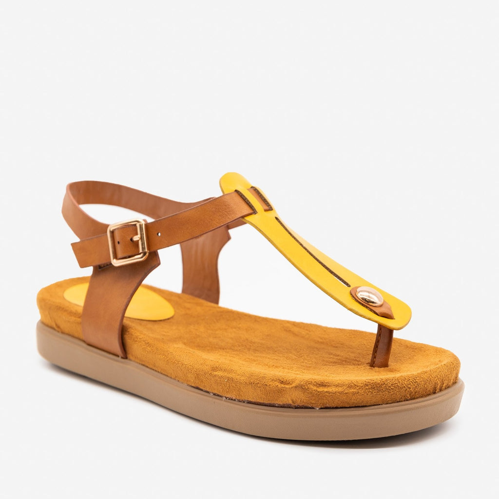 Women's Comfy Thong-Toed Fashion Sandals - Bamboo Shoes - Marigold / 5