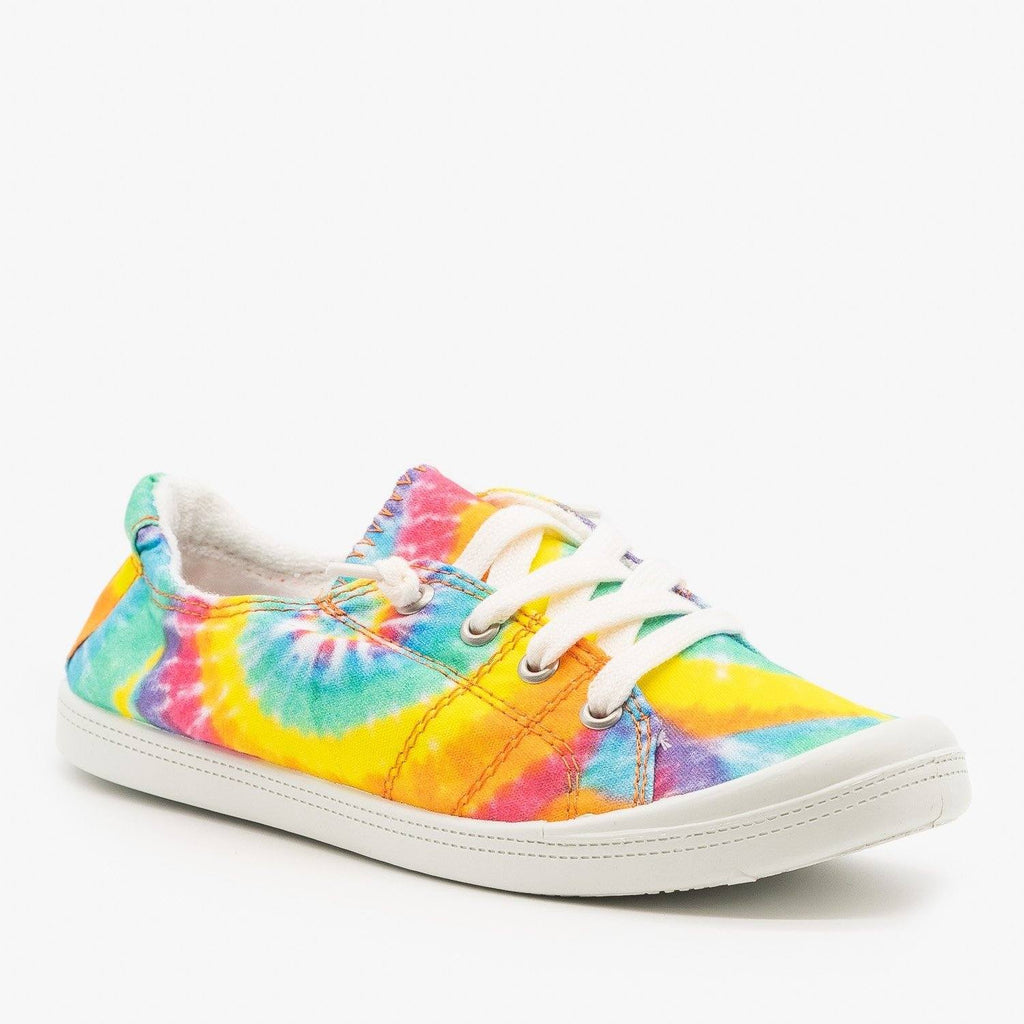 Womens Comfy Tie Dye Sneakers - Forever - Yellow Tie Dye / 5