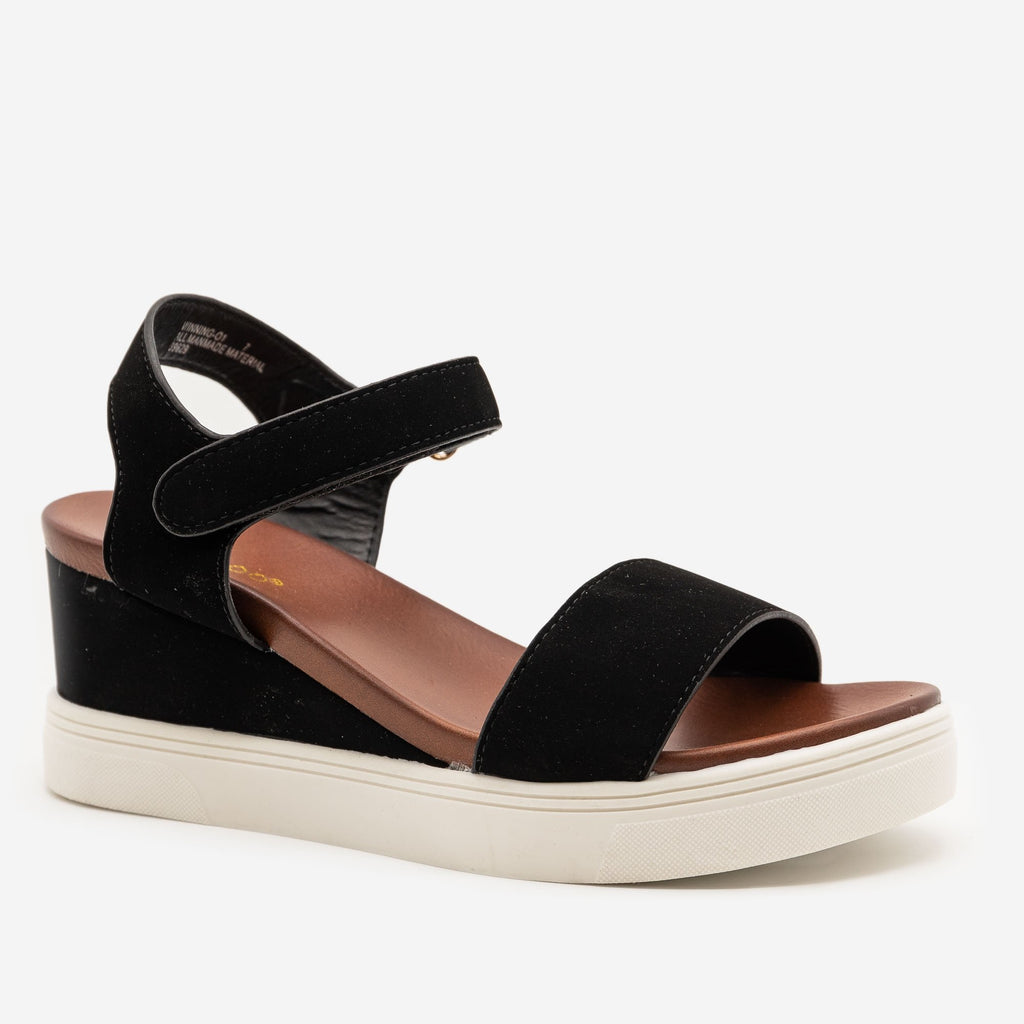 Women's Comfy Velcro Clasp Sandal Wedges - Bamboo Shoes