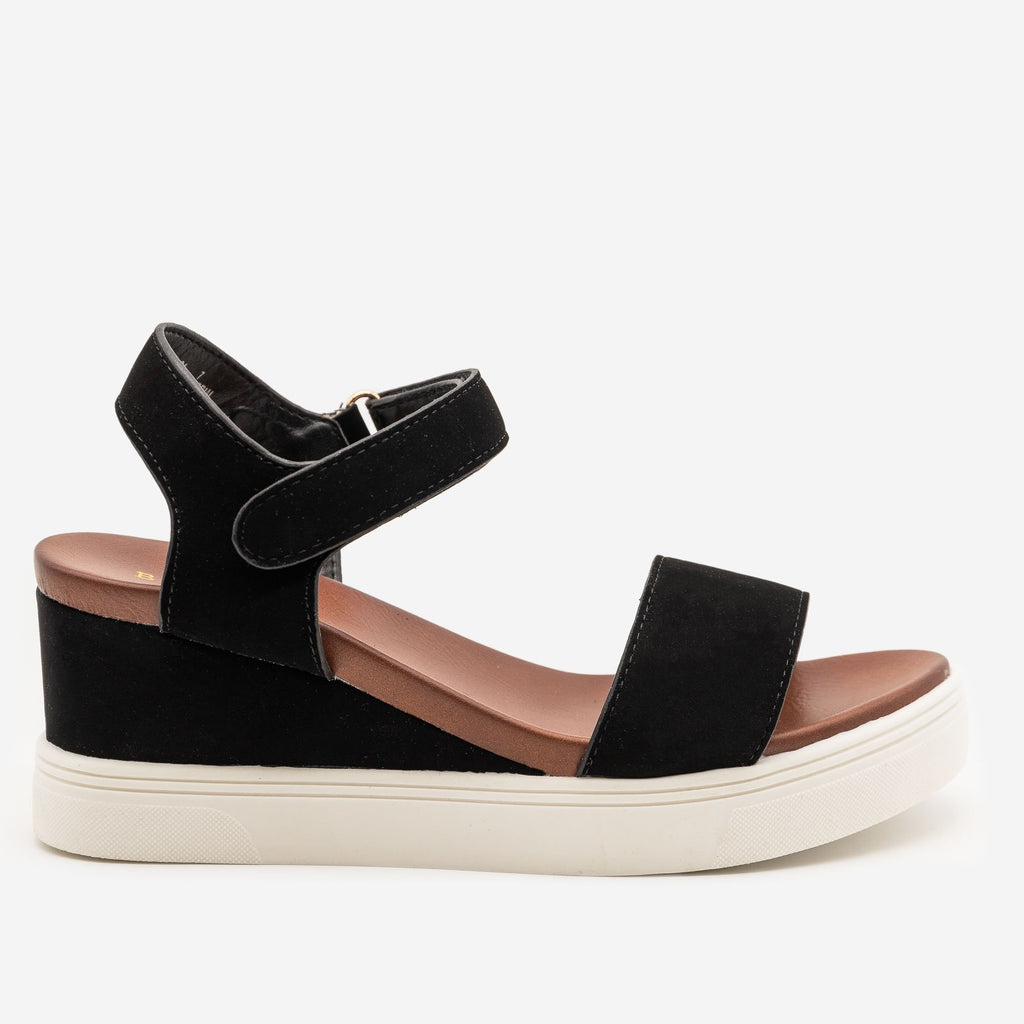 Women's Comfy Velcro Clasp Sandal Wedges - Bamboo Shoes - Black / 5