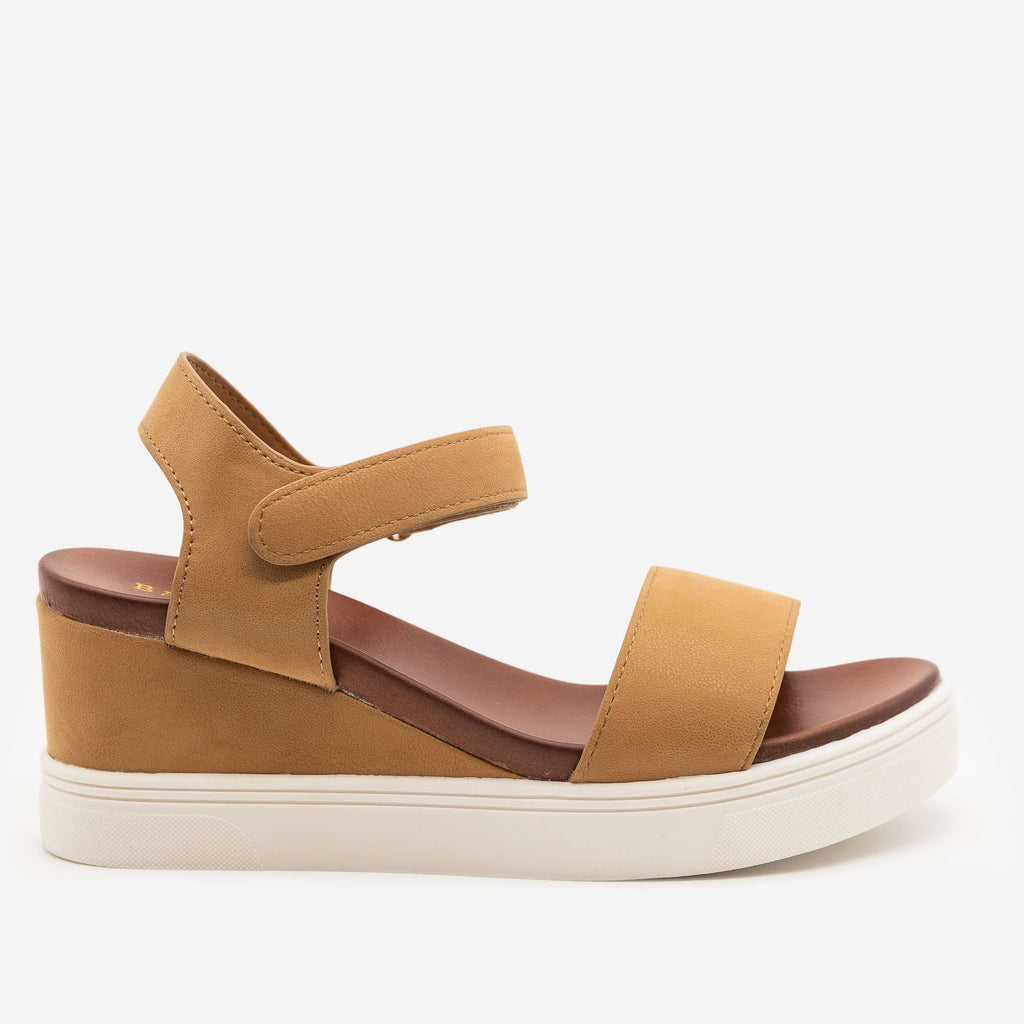 Women's Comfy Velcro Clasp Sandal Wedges - Bamboo Shoes - Camel / 5