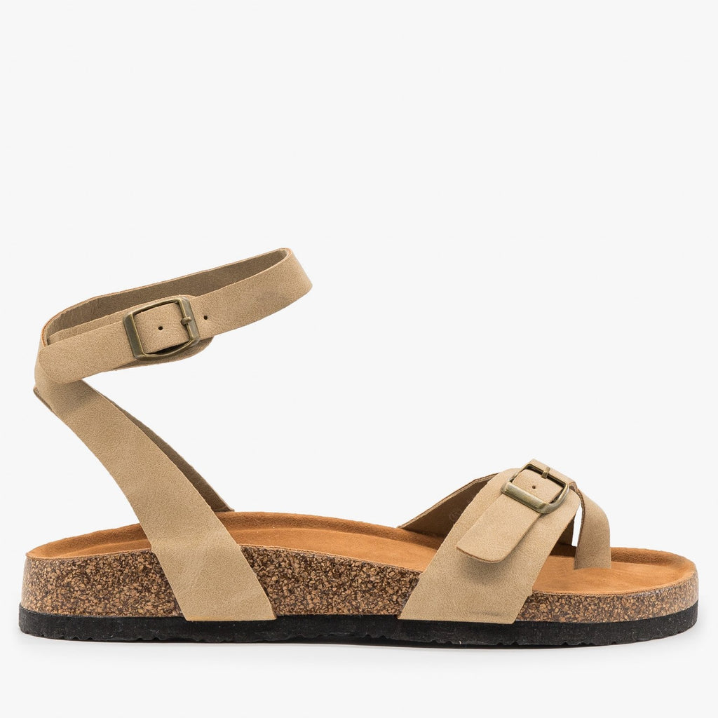 Women's Comfy Wraparound Ankle Strap Sandals - Refresh - Taupe / 5