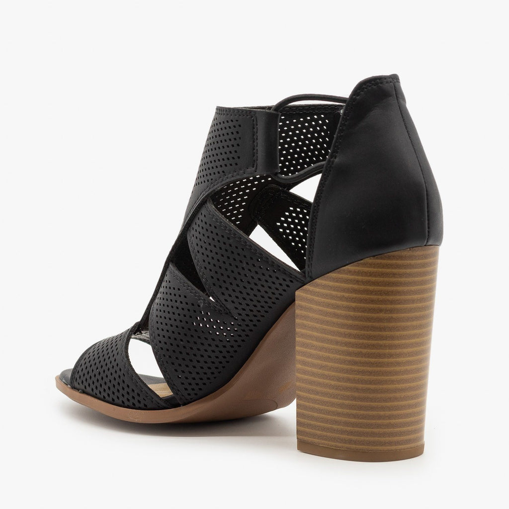 Womens Contemporary Cutout Pinhole Heels - Soda Shoes