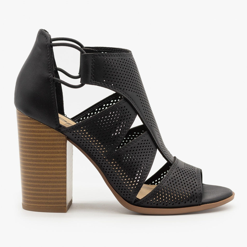 Womens Contemporary Cutout Pinhole Heels - Soda Shoes - Black / 5
