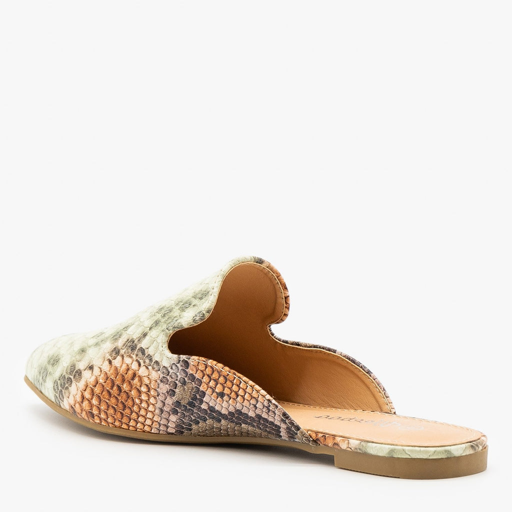 Womens Contemporary Snake Print Mules - Weeboo