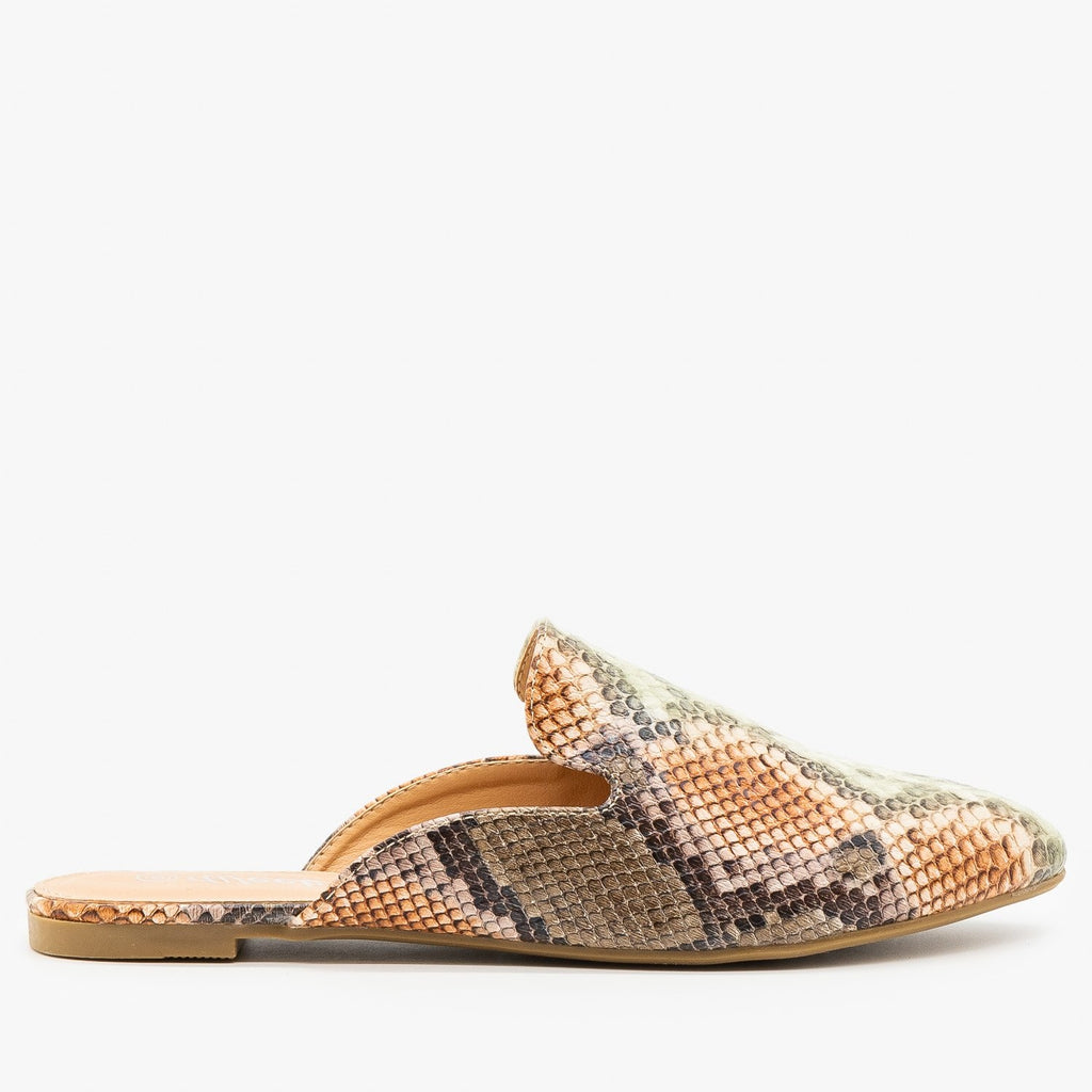 Womens Contemporary Snake Print Mules - Weeboo - Snake Multi / 5