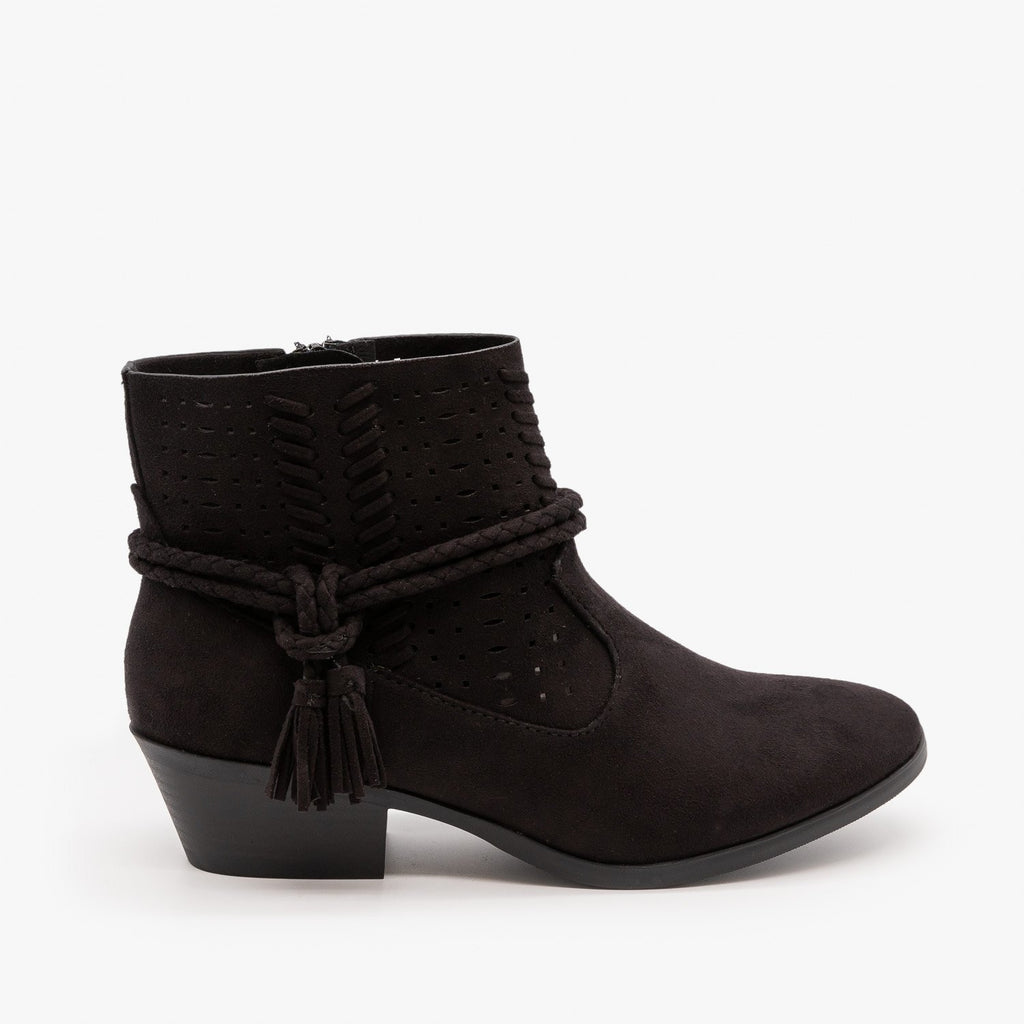 Womens Cord Wrap Around Ankle Bootie - Soda Shoes - Black / 5
