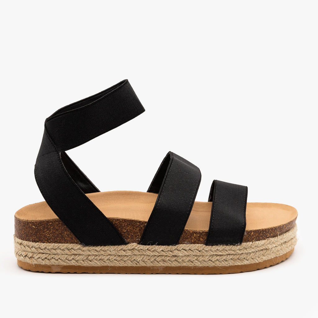 Womens Cork Espadrille Elastic Sandals - Forever - Black / 5