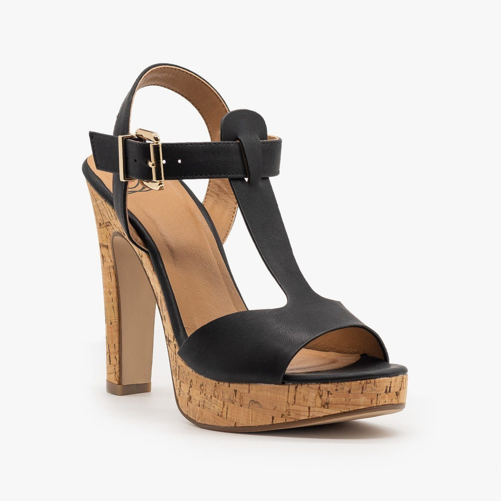 Womens Cork High Heel Sandals - Delicious Shoes