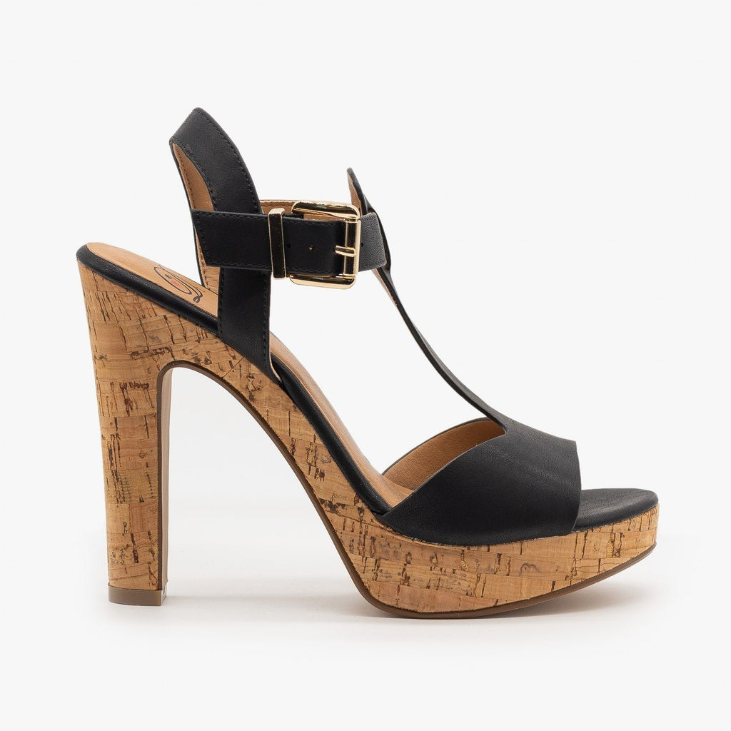 Womens Cork High Heel Sandals - Delicious Shoes - Black / 5