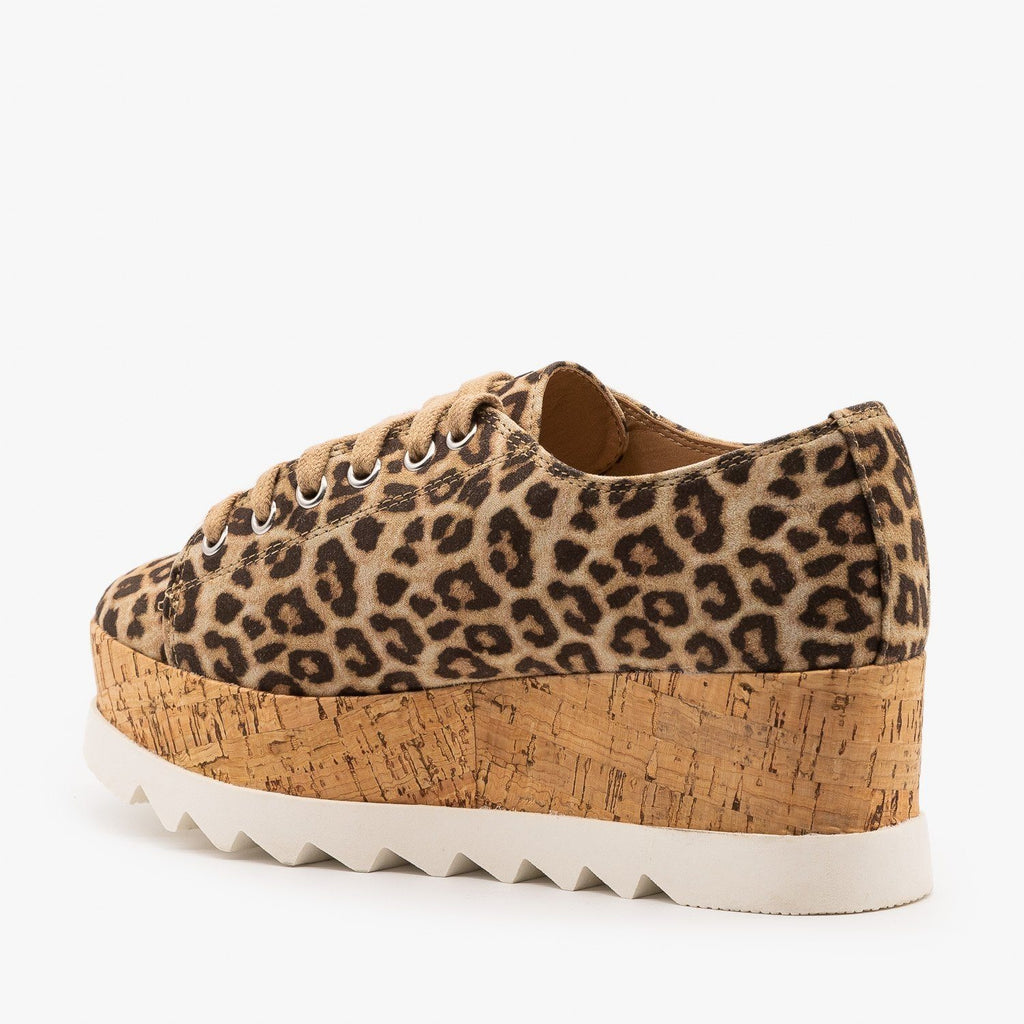 Womens Cork Platform Fashion Sneakers - Soda Shoes
