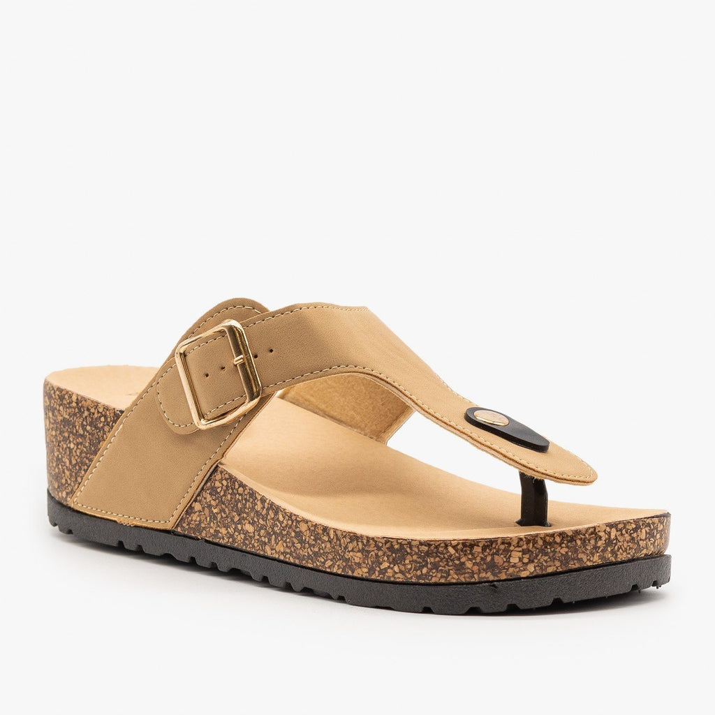Womens Cork Platform Sandal - Bamboo Shoes - Natural / 5