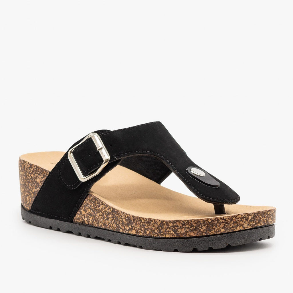 Womens Cork Platform Sandal - Bamboo Shoes - Black / 5