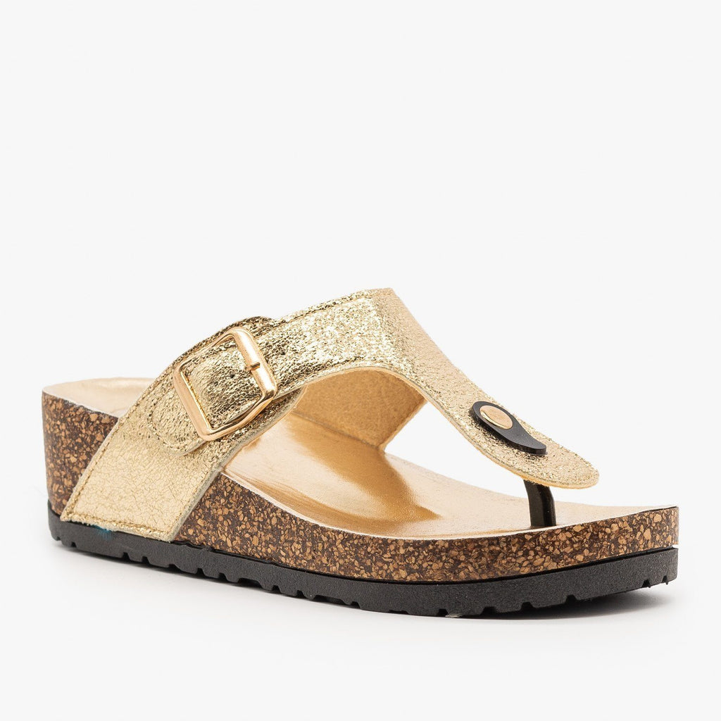 Womens Cork Platform Sandal - Bamboo Shoes - Gold / 5