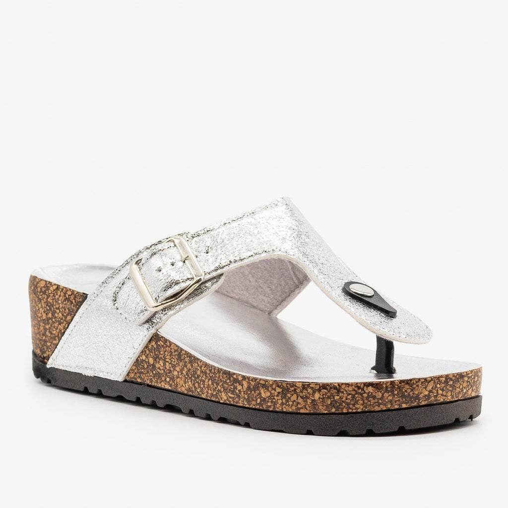 Womens Cork Platform Sandal - Bamboo Shoes - Silver / 5