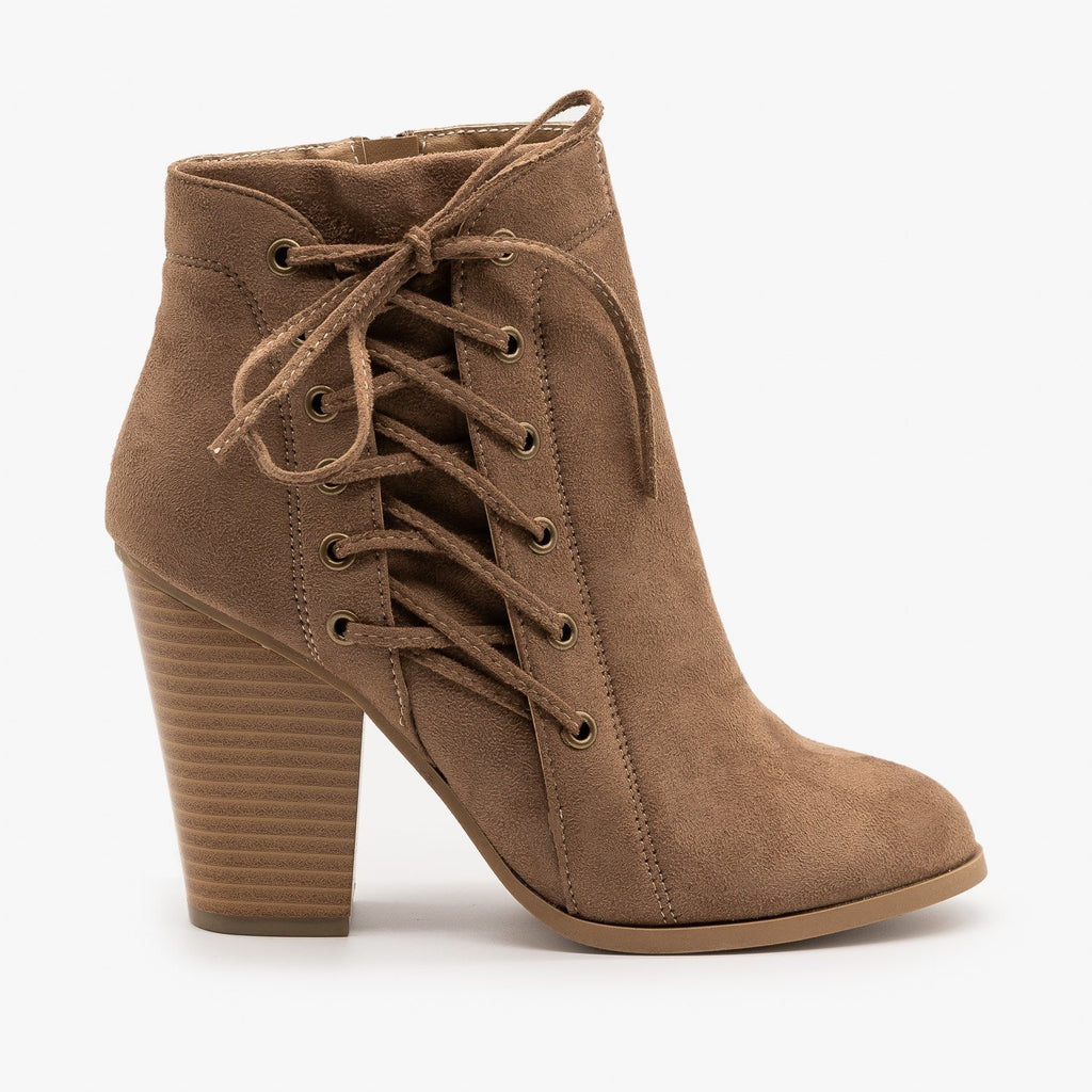 Womens Corset Detailing Booties - Bonnibel - Taupe / 5