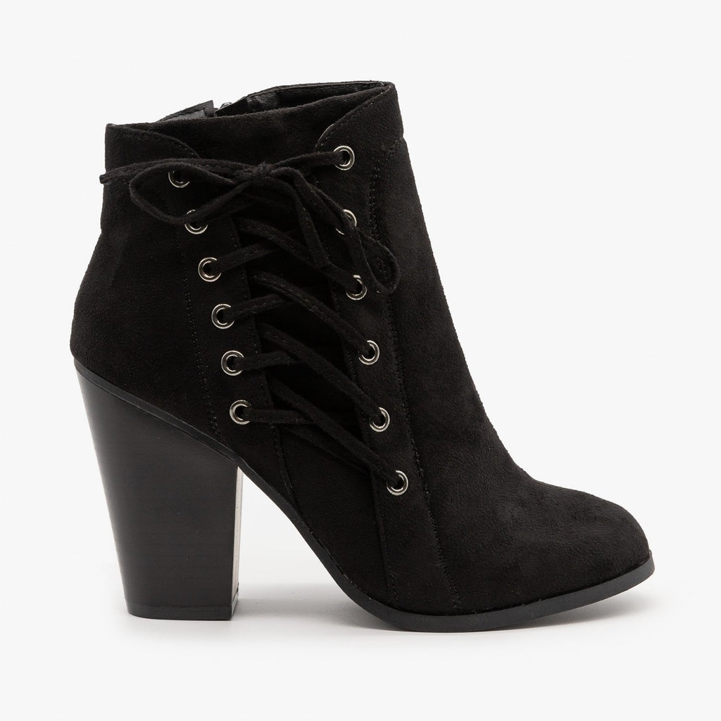Womens Corset Detailing Booties - Bonnibel - Black / 5