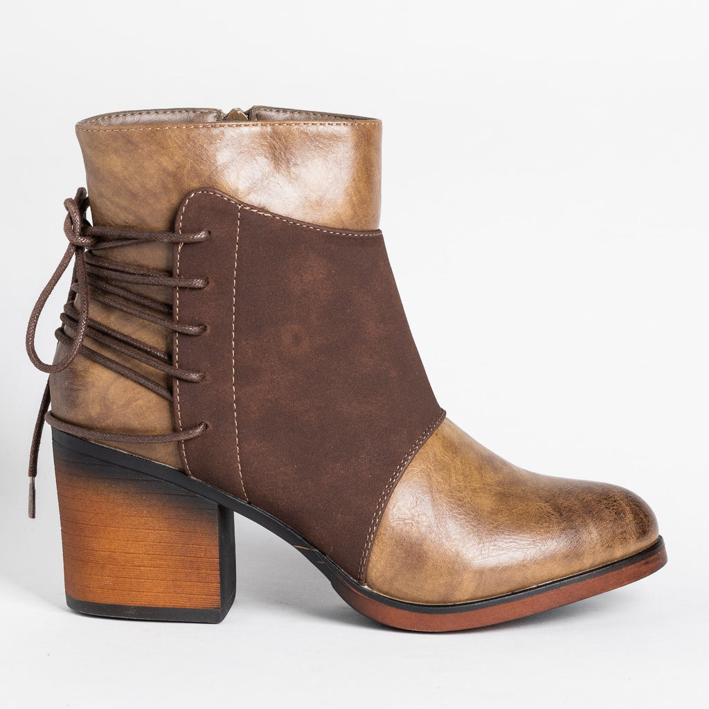 Womens Corset Tie-Up Booties - Mata - Taupe / 5
