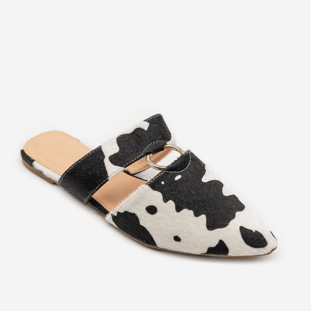 Women's Cow Print Cut Out Mules - Mata - Cow / 5
