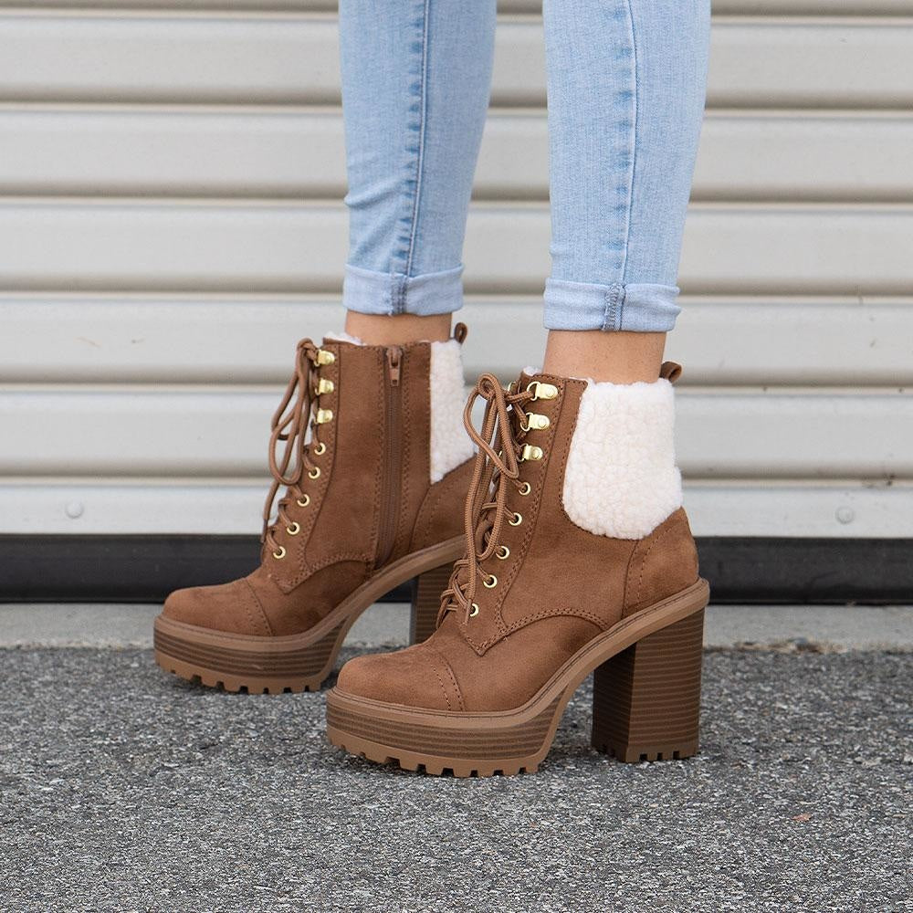 Women's Cozy Combat Booties - Soda Shoes - Light Coffee / 5